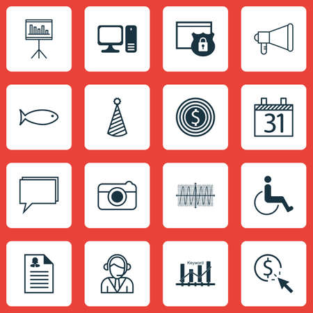 cosinus: Set Of 16 Universal Editable Icons. Can Be Used For Web, Mobile And App Design. Includes Icons Such As Presentation, Cosinus Diagram, Security And More.
