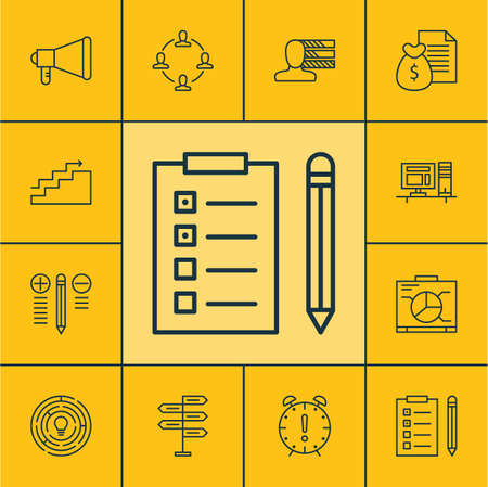 charter: Set Of Project Management Icons On Board, Personal Skills And Announcement Topics. Editable Vector Illustration. Includes Office, Promotion, Right And More Vector Icons.