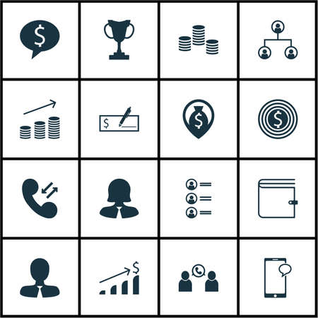 applicant: Set Of Management Icons On Successful Investment, Business Woman And Cellular Data Topics. Editable Vector Illustration. Includes Phone, Call, Increase And More Vector Icons. Illustration