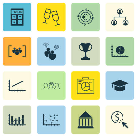 Set Of 16 Universal Editable Icons. Can Be Used For Web, Mobile And App Design. Includes Icons Such As Circle Graph, Champagne Glasses, Currency Recycle And More.