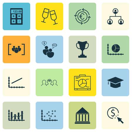Set Of 16 Universal éditables Icons. Peut être utilisé pour le Web, Mobile Et App Design. Comprend des icônes telles que Cercle Graphique, Champagne Glasses, Monnaie Recycle Et Plus.