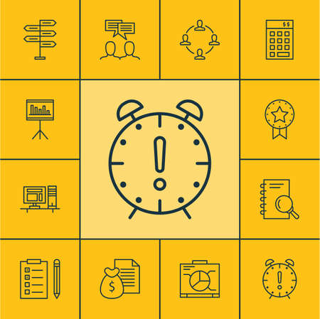 appointment: Set Of Project Management Icons On Discussion, Presentation And Present Badge Topics. Editable Vector Illustration. Includes Collaboration, Meeting, List And More Vector Icons.