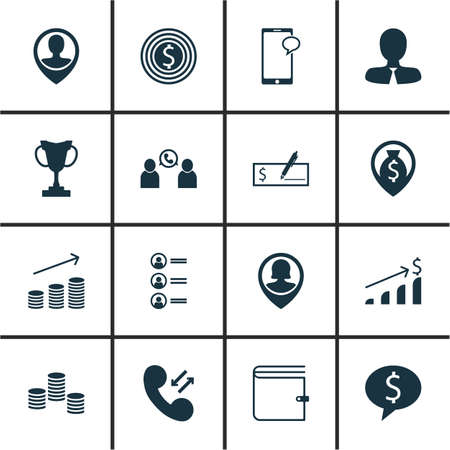winning bid: Set Of Human Resources Icons On Business Goal, Phone Conference And Messaging Topics. Editable Vector Illustration. Includes Opinion, List, Profile And More Vector Icons. Illustration