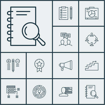 best employee: Set Of Project Management Icons On Personal Skills, Collaboration And Present Badge Topics. Editable Vector Illustration. Includes Announcement, Team, Growth And More Vector Icons.