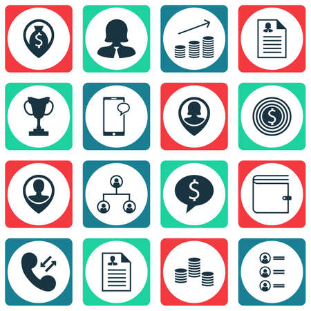 biography: Set Of Management Icons On Business Woman, Pin Employee And Cellular Data Topics. Editable Vector Illustration. Includes Resume, User, Application And More Vector Icons.