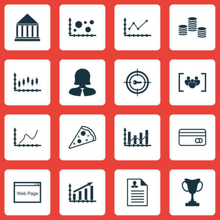 transact: Set Of 16 Universal Editable Icons. Can Be Used For Web, Mobile And App Design. Includes Icons Such As Raise Diagram, Stock Market, Profit Graph And More. Illustration
