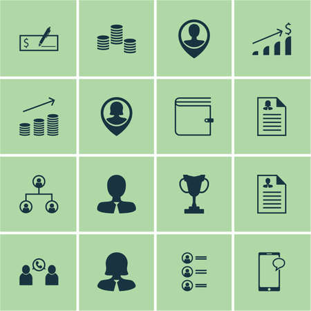 phone money: Set Of Management Icons On Tree Structure, Coins Growth And Job Applicants Topics. Editable Vector Illustration. Includes Wallet, Phone, Money And More Vector Icons.