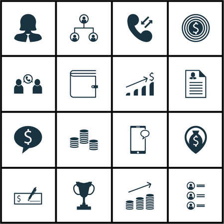 Set Of Management Icons On Money Navigation, Cellular Data And Tree Structure Topics. Editable Vector Illustration. Includes Female, Employee, Phone And More Vector Icons. Illustration