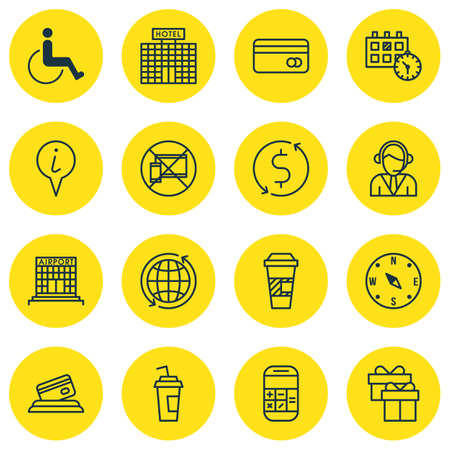 transact: Set Of Travel Icons On Airport Construction, Drink Cup And Info Pointer Topics. Editable Vector Illustration. Includes Office, Pointer, Paper And More Vector Icons.