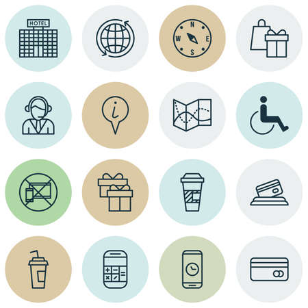 accessibility: Set Of Transportation Icons On World, Call Duration And Accessibility Topics. Editable Vector Illustration. Includes Box, Math, Building And More Vector Icons. Illustration