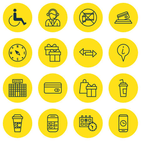 tour operator: Set Of Travel Icons On Locate, Accessibility And Hotel Construction Topics. Editable Vector Illustration. Includes Calculation, Cup, Office And More Vector Icons.