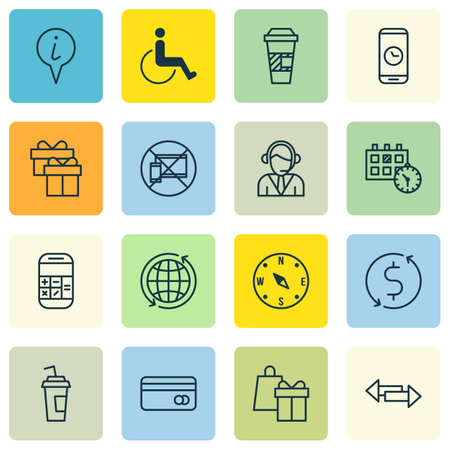 accessibility: Set Of Airport Icons On Accessibility, Operator And Present Topics. Editable Vector Illustration. Includes Shopping, Operator, Takeaway And More Vector Icons. Illustration
