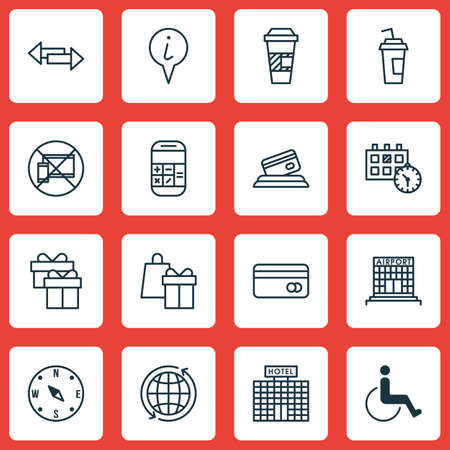 infirm: Set Of Transportation Icons On Forbidden Mobile, Calculation And World Topics. Editable Vector Illustration. Includes Shopping, Math, Building And More Vector Icons. Illustration