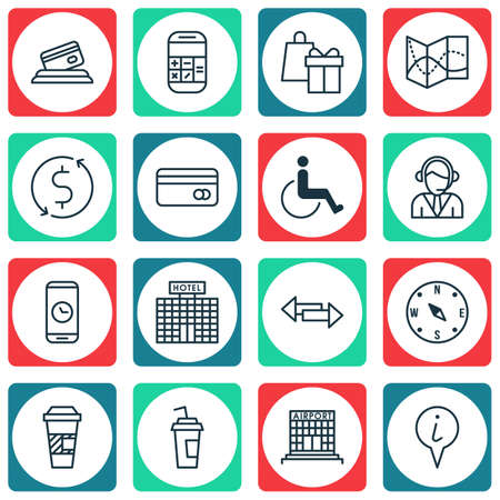 accessibility: Set Of Traveling Icons On Hotel Construction, Calculation And Operator Topics. Editable Vector Illustration. Includes Accessibility, Time, Exchange And More Vector Icons. Illustration