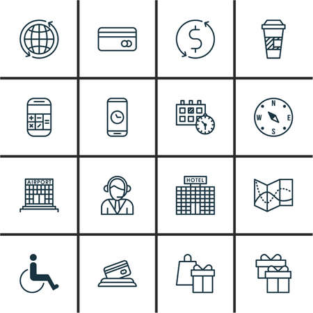 school bills: Set Of Traveling Icons On World, Operator And Calculation Topics. Editable Vector Illustration. Includes Holiday, Takeaway, Box And More Vector Icons.