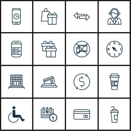 take charge: Set Of Transportation Icons On Present, Takeaway Coffee And Accessibility Topics. Editable Vector Illustration. Includes Card, Disabled, Map And More Vector Icons.