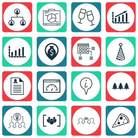 Ensemble de 16 icônes modifiables universelles. Peut être utilisé pour le Web, Mobile et App Design. Comprend des icônes telles que chapeau d'anniversaire, coaching, ornement de vacances, etc.