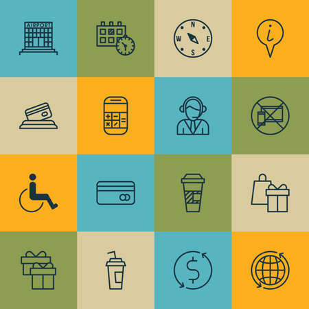 paralyzed: Set Of Airport Icons On Present, Accessibility And Money Trasnfer Topics. Editable Vector Illustration. Includes No, Calendar, Paralyzed And More Vector Icons. Illustration