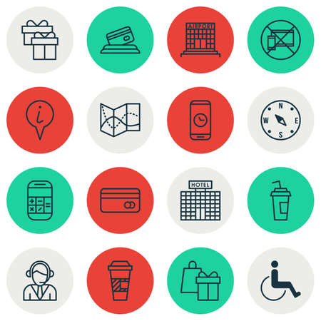 armchair shopping: Set Of Travel Icons On Airport Construction, Credit Card And Accessibility Topics. Editable Vector Illustration. Includes Takeaway, Compass, Credit And More Vector Icons.