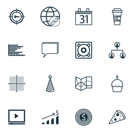 Set Of 16 Universal Editable Icons. Can Be Used For Web, Mobile And App Design. Includes Icons Such As Music, Business Goal, Bars Chart And More.