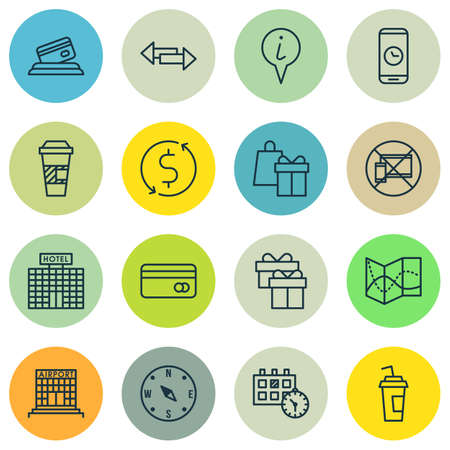 Set Of Airport Icons On Forbidden Mobile, Money Trasnfer And Locate Topics. Editable Vector Illustration. Includes Cup, Coffee, Paper And More Vector Icons.