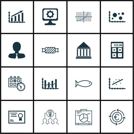 dynamic html: Set Of 16 Universal Editable Icons. Can Be Used For Web, Mobile And App Design. Includes Icons Such As Line Grid, Certificate, Comparison And More.