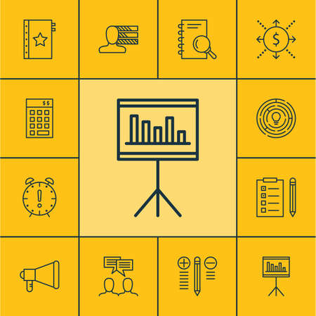 personality development: Set Of Project Management Icons On Investment, Presentation And Decision Making Topics. Editable Vector Illustration. Includes Idea, Deadline, Brainstorming And More Vector Icons.