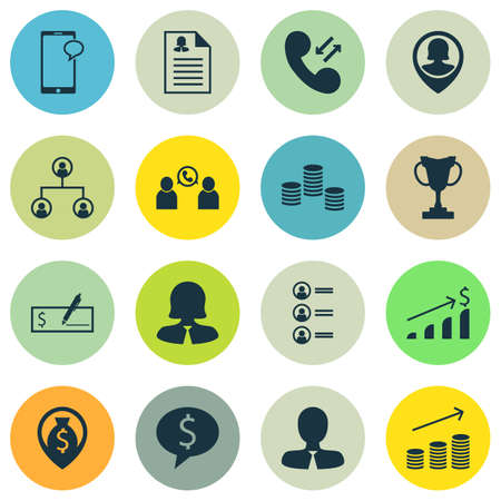 ability to speak: Set Of Management Icons On Cellular Data, Job Applicants And Phone Conference Topics. Editable Vector Illustration. Includes Cup, Bank, Coins And More Vector Icons.