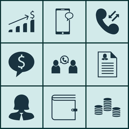 conference call: Set Of Management Icons On Wallet, Phone Conference And Money Topics. Editable Vector Illustration. Includes Conference, Call, Coins And More Vector Icons. Illustration