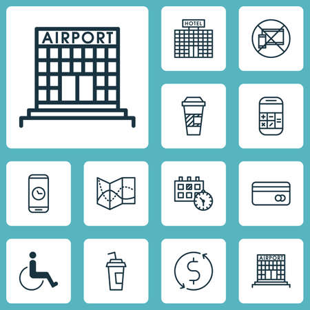 Set Of Airport Icons On Money Trasnfer, Plastic Card And Forbidden Mobile Topics. Editable Vector Illustration. Includes Disabled, Map, Travel And More Vector Icons. Stock Illustratie