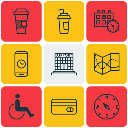 infirm: Set Of Transportation Icons On Accessibility, Call Duration And Road Map Topics. Editable Vector Illustration. Includes Debit, Construction, Paralyzed And More Vector Icons. Illustration