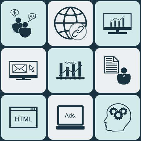 optimisation: Set Of Advertising Icons On Brain Process, Keyword Optimisation And Digital Media Topics. Editable Vector Illustration. Includes Creativity, Advertising, Analytics And More Vector Icons.