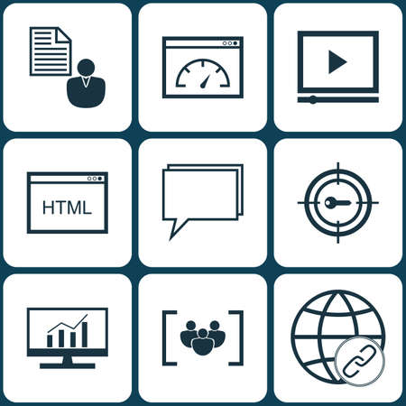 briefing: Set Of Advertising Icons On Connectivity, Questionnaire And Conference Topics. Editable Vector Illustration. Includes Code, Target, Marketing And More Vector Icons.