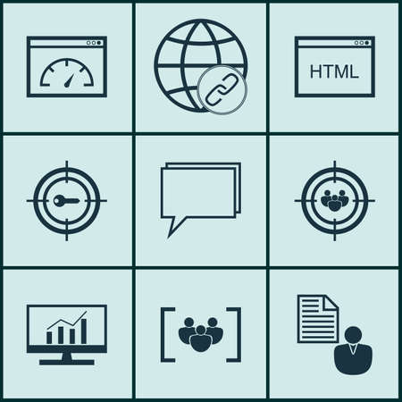 brief: Set Of Marketing Icons On Report, Keyword Marketing And Focus Group Topics. Editable Vector Illustration. Includes Brief, Businessman, Bulding And More Vector Icons.