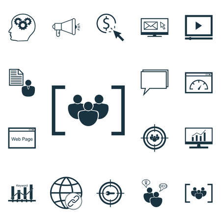 Ensemble d'icônes de la publicité sur le rapport, le lecteur vidéo et les sujets de connectivité. Illustration vectorielle modifiable. Inclut la conférence, la paye, la dynamique et plus d'icônes de vecteur.