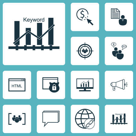 consumer society: Set Of Advertising Icons On Keyword Optimisation, SEO Brainstorm And Questionnaire Topics. Editable Vector Illustration. Includes Website, Bulding, Community And More Vector Icons.