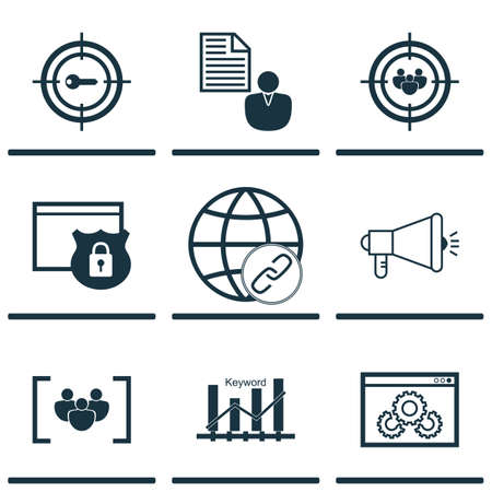 keyword: Set Of SEO Icons On Keyword Optimisation, Keyword Marketing And Connectivity Topics. Editable Vector Illustration. Includes Ranking, Focus, Viral And More Vector Icons.
