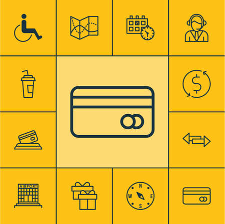 paralyzed: Set Of Traveling Icons On Present, Locate And Drink Cup Topics. Editable Vector Illustration. Includes Compass, Payment, Paralyzed And More Vector Icons. Illustration