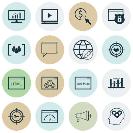dynamic html: Set Of Marketing Icons On Security, PPC And Coding Topics. Editable Vector Illustration. Includes Website, Brain, Comprehensive And More Vector Icons. Illustration
