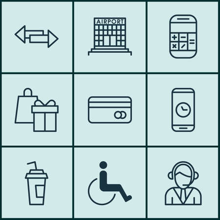 Set Of Transportation Icons On Airport Construction, Accessibility And Drink Cup Topics. Editable Vector Illustration. Includes Building, Crossroad, Gift And More Vector Icons.