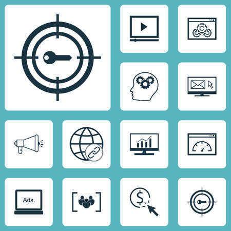 Set Of SEO Icons On Brain Process, Loading Speed And PPC Topics. Editable Vector Illustration. Includes Click, Analytics, Pay And More Vector Icons. Illustration