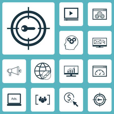 Ensemble d'icônes SEO sur le processus du cerveau, la vitesse de chargement et les sujets PPC. Illustration vectorielle modifiable. Inclut le clic, l'analyse, la paye et plus d'icônes de vecteur.