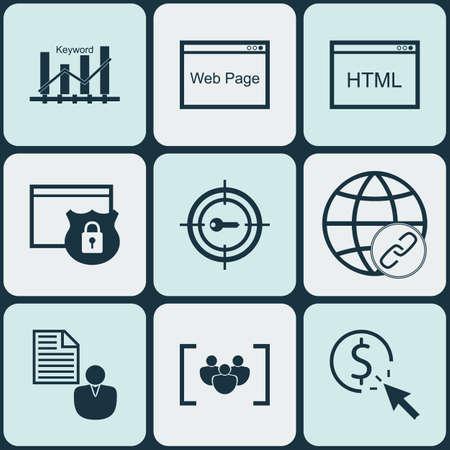 Set Of marketing icônes sur la sécurité, le site et les mots-clés Sujets d'optimisation. Editable Vector Illustration. Comprend Pay, Link, Homme d'affaires et Plus icônes vectorielles.