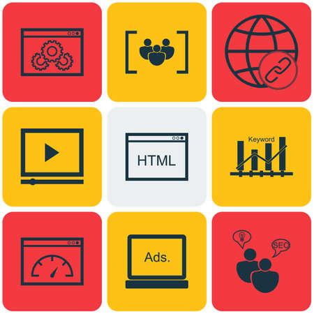 Set Of Publicité Icônes sur les mots-clés Optimisation, Performance du site et le questionnaire Sujets. Editable Vector Illustration. Comprend Site, Matching, vitesse et Plus icônes vectorielles.