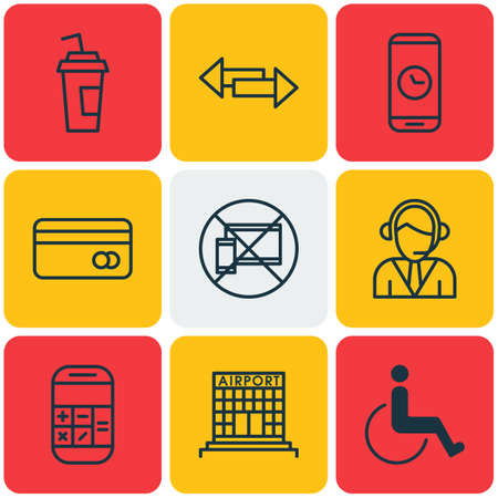 tour operator: Set Of Airport Icons On Call Duration, Forbidden Mobile And Accessibility Topics. Editable Vector Illustration. Includes Card, Construction, Credit And More Vector Icons.