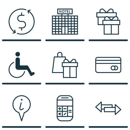 infirm: Set Of Transportation Icons On Money Trasnfer, Info Pointer And Hotel Construction Topics. Editable Vector Illustration. Includes Accessibility, Present, Holiday And More Vector Icons.