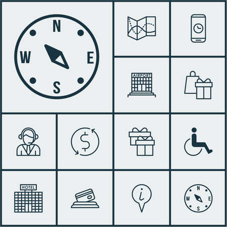 paralyzed: Set Of Airport Icons On Hotel Construction, Info Pointer And Airport Construction Topics. Editable Vector Illustration. Includes Transfer, Paralyzed, Office And More Vector Icons. Illustration