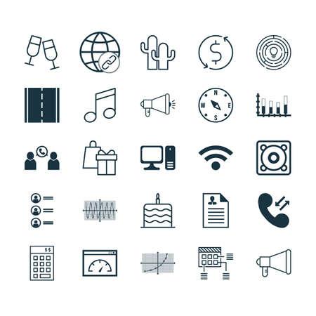 Ensemble de 25 icônes modifiables universelles. Peut être utilisé pour la conception Web, Mobile et App. Comprend des icônes telles que Ordinateur de bureau, Curriculum Vitae, Conférence téléphonique, etc.