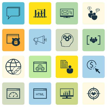 Ensemble d'icônes de la publicité sur le bulletin, la sécurité et les sujets de conférence. Illustration vectorielle modifiable. Comprend le classement, le Web, l'optimisation et plus d'icônes vectorielles.