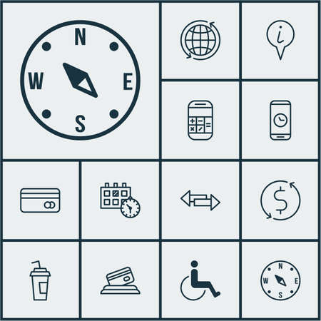paralyzed: Set Of Traveling Icons On Drink Cup, Locate And Accessibility Topics. Editable Vector Illustration. Includes Paralyzed, Credit, Debit And More Vector Icons.